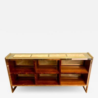 Mid Century Modern Brass Wood and Light Green Artistic Murano Glass Bookcase