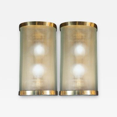 Mid Century Modern Brass Wrapped Sconces with Rectlinear Textured Glass Shades
