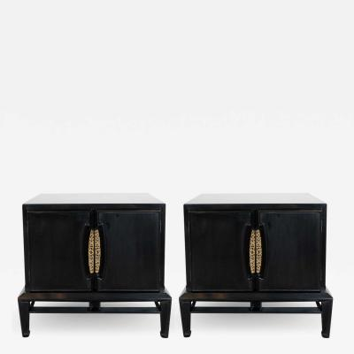 Mid Century Modern Brutalist Polished Brass Ebonized Walnut Nightstands