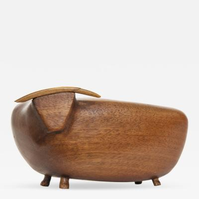 Mid Century Modern Carved Wood Bull Toro
