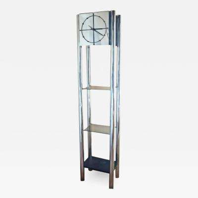 Mid Century Modern Chrome Standing Grandfather Clock Shelves Shelving tag re
