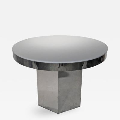 Mid Century Modern Chrome White Lucite Table with Hexagon Base