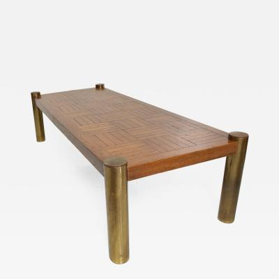 Mid Century Modern Coffee Table by Lane Oak and Brass