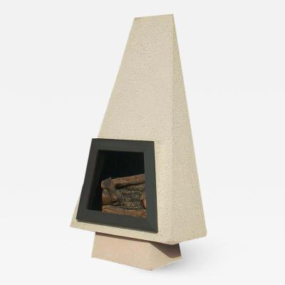 Mid Century Modern Concrete Architectural Freestanding Fireplace