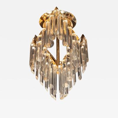 Mid Century Modern Crystal Brass Chandelier