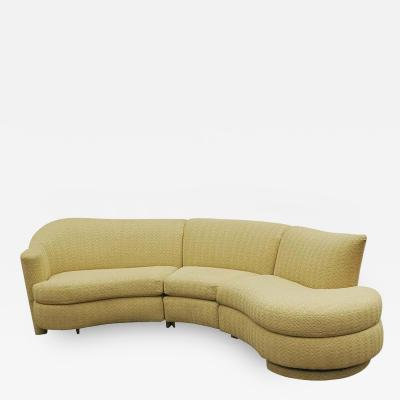 Mid Century Modern Curved Serpentine Sectional Sofa or Chaise Lounge