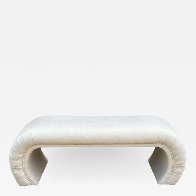 Mid Century Modern Curved Waterfall Upholstered Bench in White