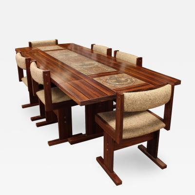 Mid Century Modern Danish Rosewood Ox Art Tile Dining Table w 2 Leaves 6 Chairs