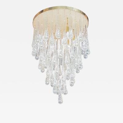 Mid Century Modern Dlightus Bespoke Brass Murano Glass Drop Flush Mount