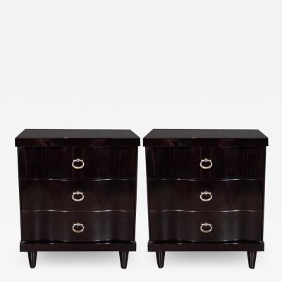 Mid Century Modern Ebonized Walnut Bowfront Nightstands With Nickel Pulls