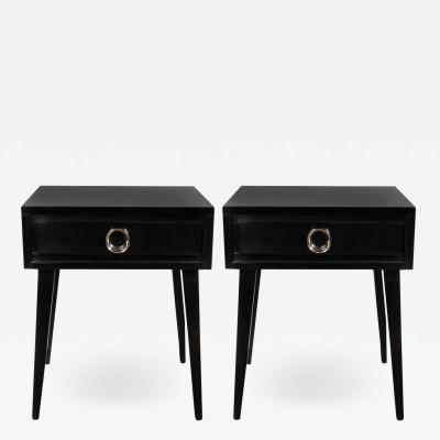 Mid Century Modern Ebonized Walnut End Tables Nightstands w Nickeled Fittings