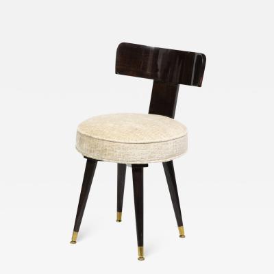 Mid Century Modern Ebonized Walnut and Gauffraged Oyster Klismos Vanity Chair