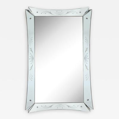 Mid Century Modern Etched and Beveled Venetian Mirror with Dovetailed Corners