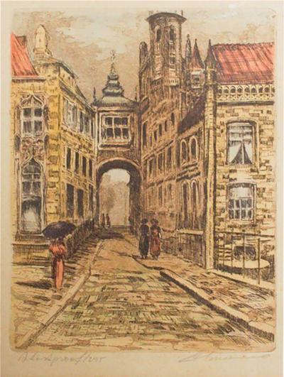 Mid Century Modern European Landscape Serigraph Art Signed Mariah