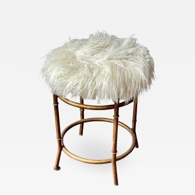 Mid Century Modern Faux Bamboo Metal Stool W Flokati Seat