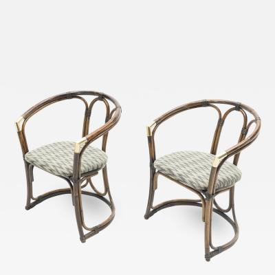 Mid Century Modern French Riviera Bamboo and brass Armchairs 1960s