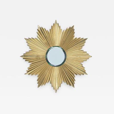 Mid Century Modern Gilt Bronze Sunburst Mirror