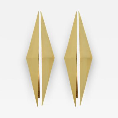 Mid Century Modern Gold Metal Triangular Pair of Italian Sconces