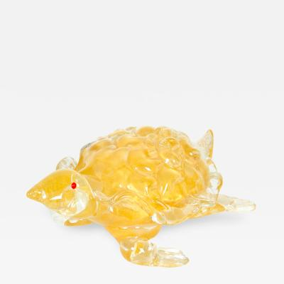Mid Century Modern Gold Murano Glass Decorative Turtle