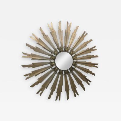 Mid Century Modern Gold Sunburst Mirror