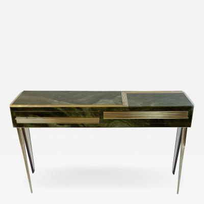 Mid Century Modern Green Artistic Murano Glass Console w Brass Wood Details