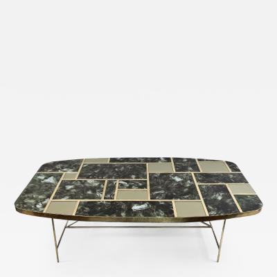 Mid Century Modern Green Artistic Murano Glass w Brass Details Coffee Table