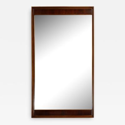 Mid Century Modern Hand Rubbed Walnut Rectilinear Wall Mirror