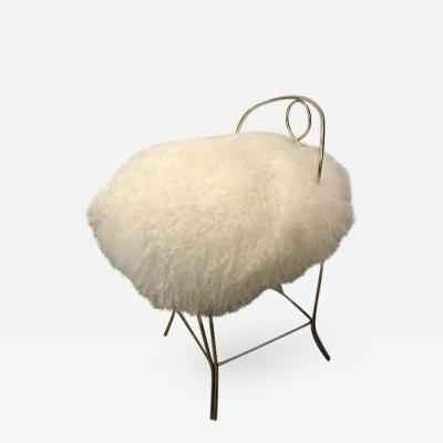 Mid Century Modern Hollywood Regency Glam Mongolian Fur and Brass Vanity Stool