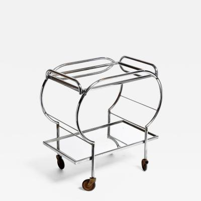 Mid Century Modern Hungarian Chrome Serving Cart