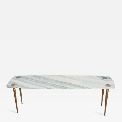 Mid Century Modern Italian Coffee Table Marble Brass Regency