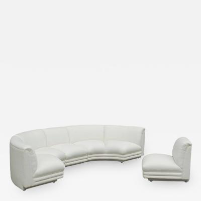 Mid Century Modern Italian Curved Semi Circular Sectional Sofa in White Fabric