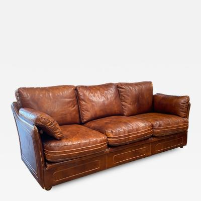 Mid Century Modern Italian Leather Sofa 1960s