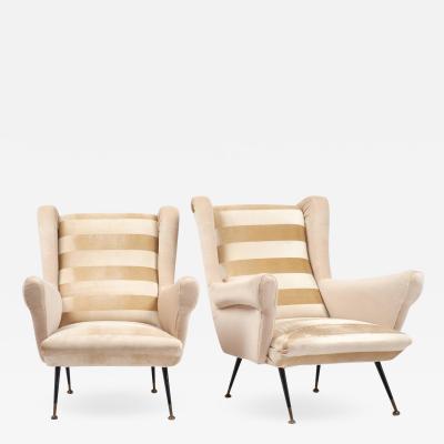 Mid Century Modern Italian Striped Velvet Armchairs