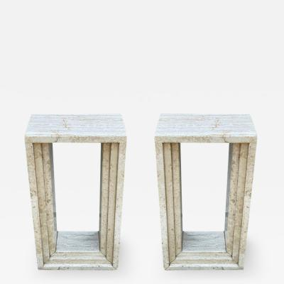 Mid Century Modern Italian Travertine Marble Pedestals or Side Tables or Console