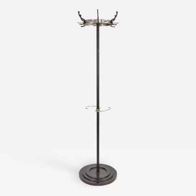 Mid Century Modern Italian black metal and chrome coat rack and umbrella stand