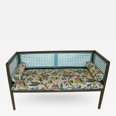 Mid Century Modern Lacquered and Upholstered Regency Style Settee