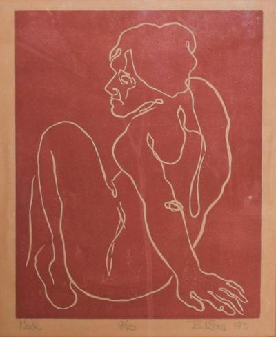 Mid Century Modern Lithograph Nude by B Korbus 1971