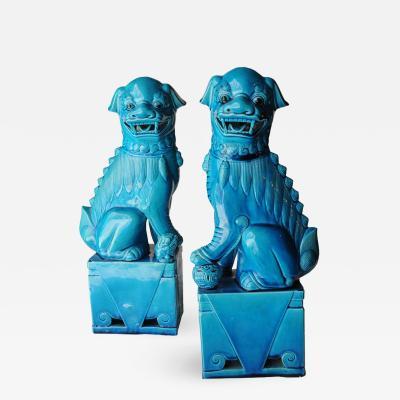 Mid Century Modern Pair Of Blue Glazed Porcelain Oriental Foo Dogs 50s