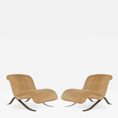 Mid Century Modern Pair of Slipper Lounge Chairs with Barcelona Style Legs