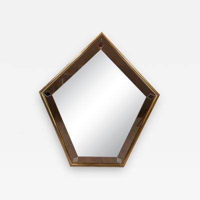 Mid Century Modern Pentagonal Brass Wrapped Mirror with Smoked Border