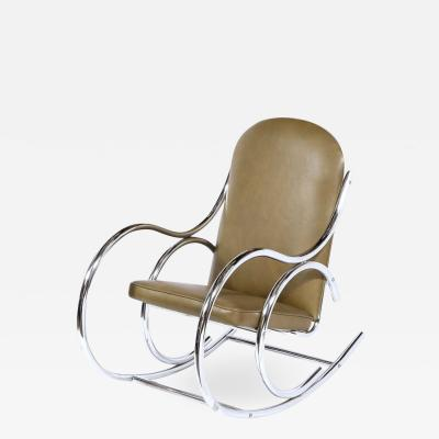 Mid Century Modern Polished Chrome Curvilinear Rocking Chair in Olive Leather