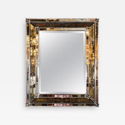Mid Century Modern Reverse glomis Chain Beveled Venetian Shadowbox Mirror