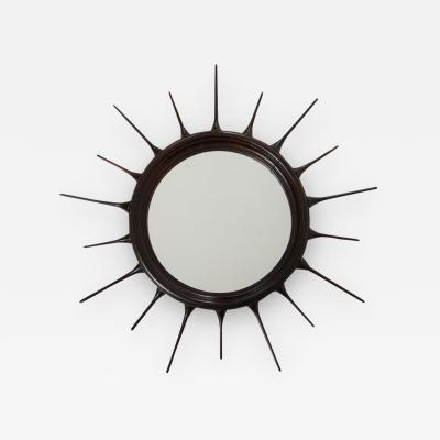 Mid Century Modern Rosewood Sunburst Mirror Brazil 1950s