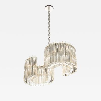 Mid Century Modern S Form Translucent Handblown Murano Glass Chrome Chandelier