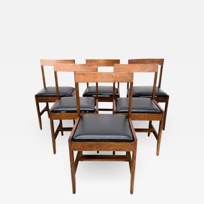 Mid Century Modern Set of Six 6 Dining Chairs Clean Modern Lines