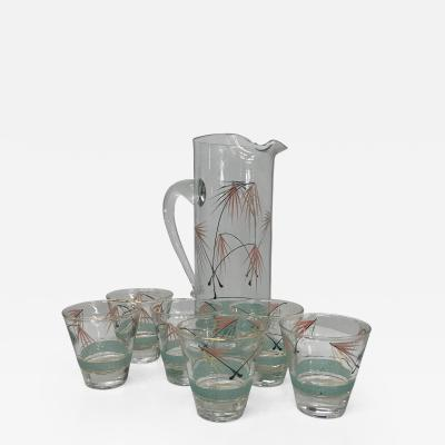 Mid Century Modern Set of Six Glasses and Pitcher