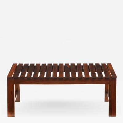 Mid Century Modern Small Slatted Bench in Wood Brazil 1960s