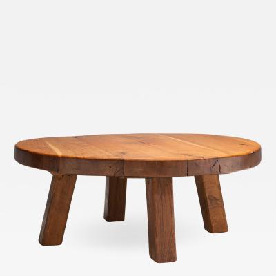 Mid Century Modern Solid Oak Coffee Table Scandinavia 1960s