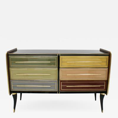 Mid Century Modern Solid Wood and Colored Glass Italian Sideboard
