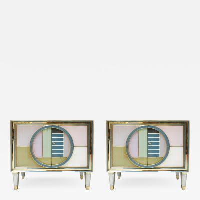 Mid Century Modern Style Brass and Colored Glass Pair of Italian Sideboards
